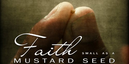 Pick of Thumb and Forefinger holding a mustard seed phrase Faith as small as a mustard seed
